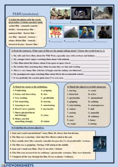 Interactive worksheet Films (vocabulary)