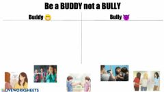 Interactive worksheet Be a Buddy not a Bully