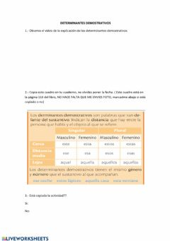 Interactive worksheet Determinantes demostrativos