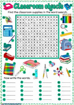 Interactive worksheet Classroom objects - word search