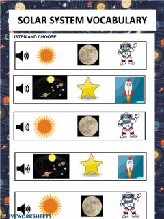 Ficha interactiva Solar system vocabulary
