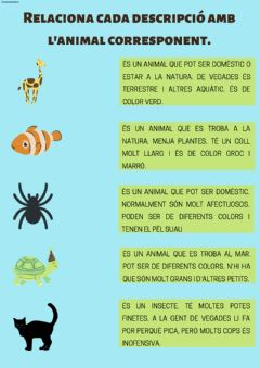 Interactive worksheet Comprensió lectora animals