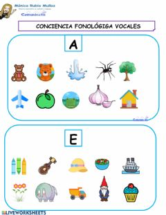 Interactive worksheet COMUNICATE Conciencia fonologica vocales