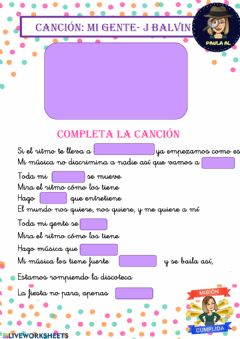 Interactive worksheet Cancion mi gente j-balvin