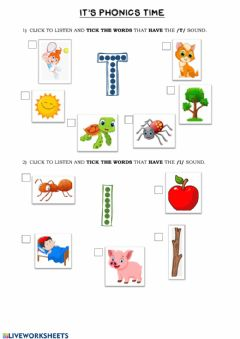 Interactive worksheet Phonics Group 1 (t-i)