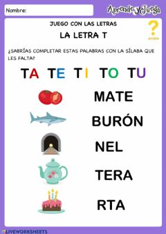 Interactive worksheet Completa Palabras Letra T