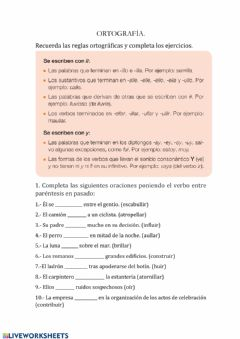 Interactive worksheet Ortografía -LL- Y-