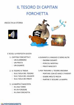 Interactive worksheet Il tesoro di Capitan Forchetta