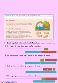 Interactive worksheet Suejto y Predicado.  El verbo