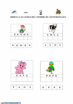 Interactive worksheet Ordena letras