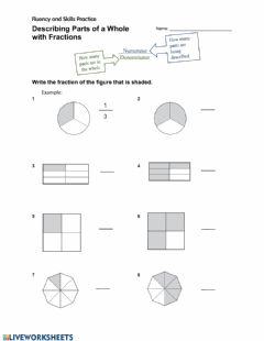 Interactive worksheet Describing Parts of a Whole with Fractions