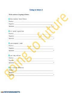 Interactive worksheet Going to future 2