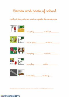 Interactive worksheet Games and school places