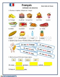 Interactive worksheet Francés - nourriture - partitifs