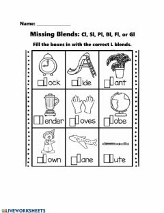 Interactive worksheet Missing L Blends