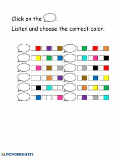 Interactive worksheet Listen and check the colors (2)