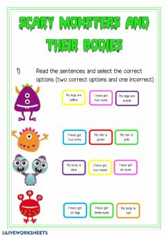Interactive worksheet Parts of the body and colours