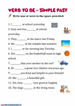 Interactive worksheet Past verb to be