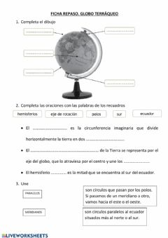 Interactive worksheet Globo terráqueo