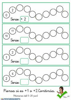 Interactive worksheet Series +1, +2 (pares) del 0 al 20