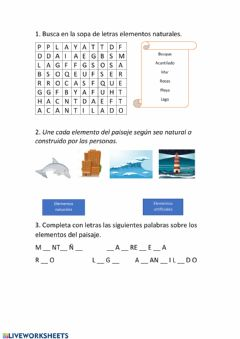Interactive worksheet El paisaje