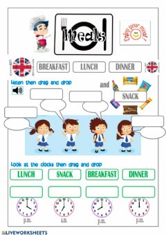 Interactive worksheet Meals: Breakfast Lunch Dinner