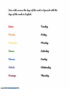 Interactive worksheet Dias de la Semana