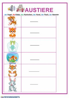 Interactive worksheet Haustiere