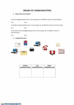 Interactive worksheet Mean of communication