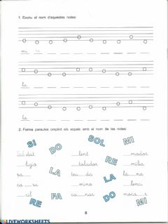 Ficha interactiva Notes musical r-la
