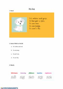 Ficha interactiva Reading and numbers