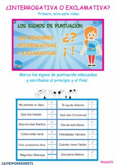 Interactive worksheet Interrogativas y exclamativas