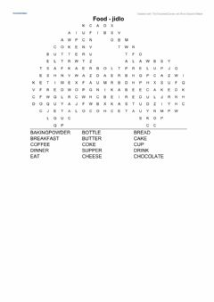 Interactive worksheet Food - word search