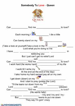 Interactive worksheet Song to learn indefinite pronouns