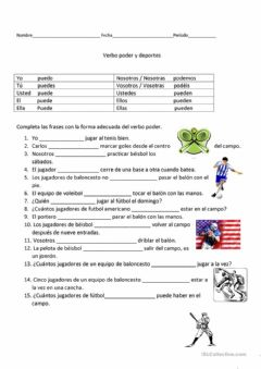 Interactive worksheet Verbo PODER y los Deportes