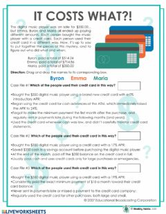 Interactive worksheet Wealthy Habits It Costs What