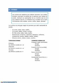 Interactive worksheet El verbo