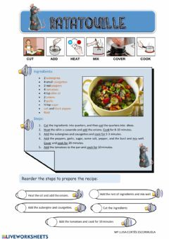 Interactive worksheet Recipe:ratatouille