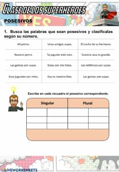 Interactive worksheet Posesivos: número
