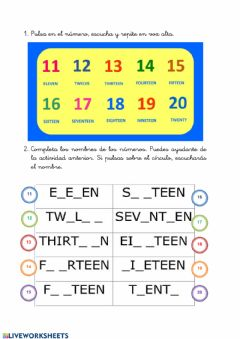 Interactive worksheet Numbers 11-20
