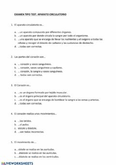 Interactive worksheet Examen tipo test Aparato Circulatorio