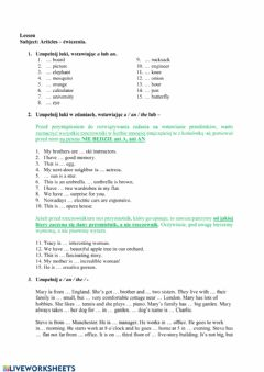 Interactive worksheet Articles - 7