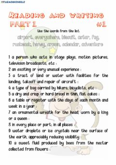 Interactive worksheet Flyers reading and writing 1-1