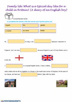 Interactive worksheet The life of an English kid