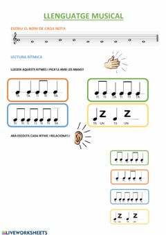 Interactive worksheet Llenguatge musical