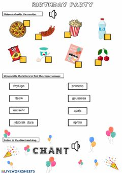 Interactive worksheet Birthday Party Vocabulary