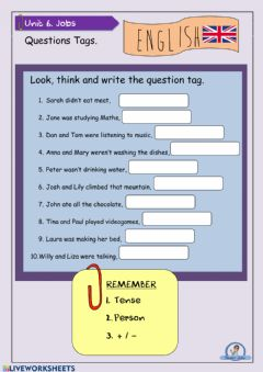 Interactive worksheet Question Tags