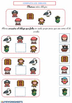 Interactive worksheet Encuentra al pirata que falta