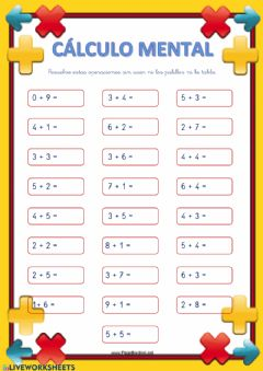Interactive worksheet Cálculo Mental (sumas)