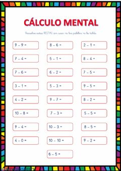 Interactive worksheet Calculo mental (restas)